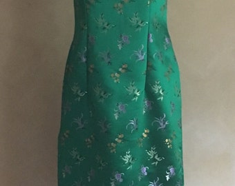 Satin Dress Vintage 1960's Green Brocade Shift Dress