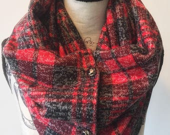 Red Plaid Button Scarf