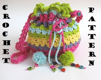 Colorful Girls Bag / Purse, Crochet Pattern PDF,Easy, Great for Beginners,  Pattern No. 31