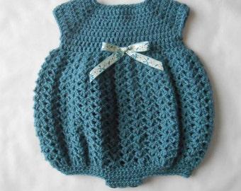 Crocheted Preemie Bubble Romper- Teal Blue