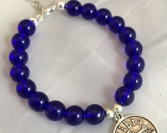 Libra, Zodiac Jewelry, Sapphire, September Birthstone, Beaded Bracelet