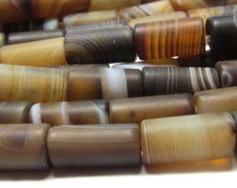 Agate Beads 12 X 6mm Natural Smooth Matte Marbled Chocolate Agate Smooth Tube Beads - 15 Pieces