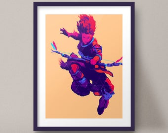 Aloy Jumping Bow Art Print Horizon Zero Dawn Game Poster