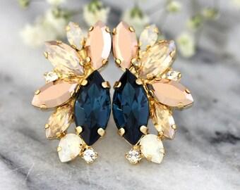 Blue Navy Earrings, Dark Blue Earrings, Blue Gold Earrings, Midnight Blue Cluster Earrings,Navy Blue Cluster Earrings, Bridesmaids Earrings