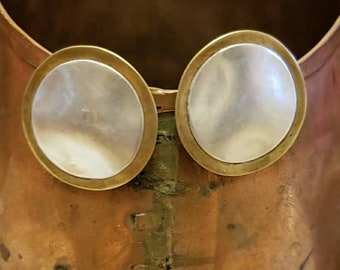 Vintage MB, Marjorie Baer mixed metal silver and gold clip earrings