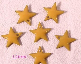 6 sequins star enamel brass 12mm yellow