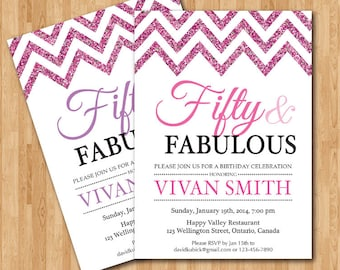 50th Birthday Invitation for Women Fifty and Fabulous Golden