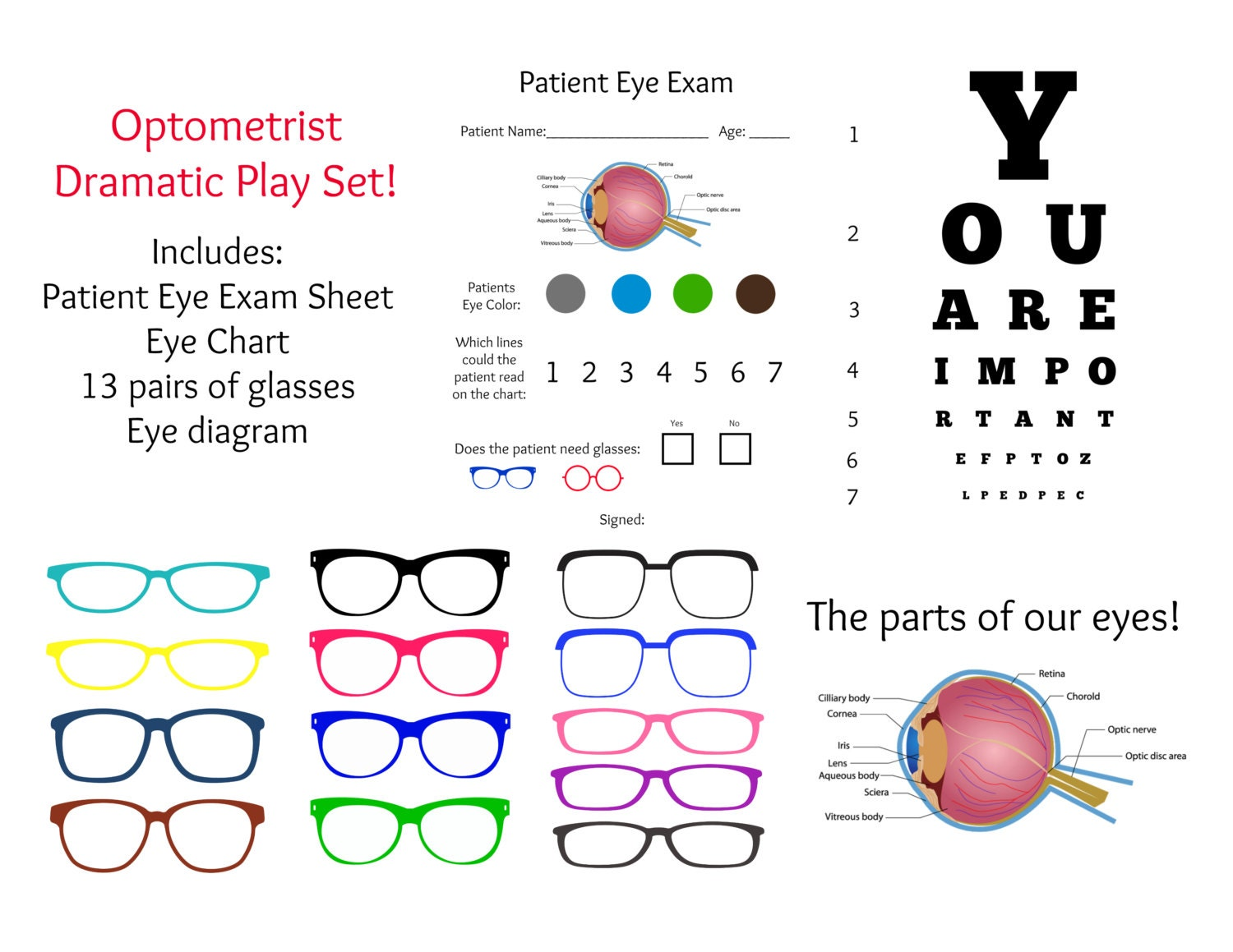 Instant download dramatic play optometrist eye doctor exam zoom ccuart Choice Image