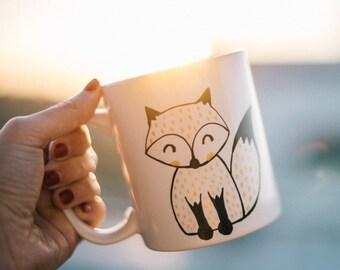 Foxy Gold Handpainted Mug. Cute mug cup. Unique mug. Fox mug cup. Coffee/tea ceramic mug
