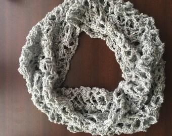 Light grey crochet scarf