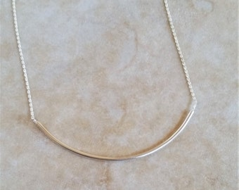 "3"" Curved, Sterling Bar Necklace"