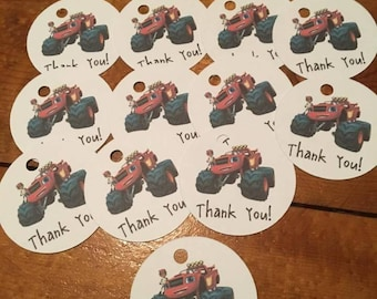 12 Blaze Party Favor Thank You Tags (can be personalized)