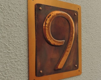 House Number, Copper Number, Copper Number, Copper Front Door Number, rustic copper signs, Copper sign, made to order