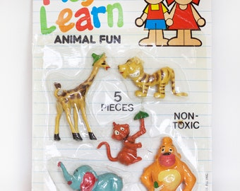 1985 Play to Learn Animal Fun Figures NIB