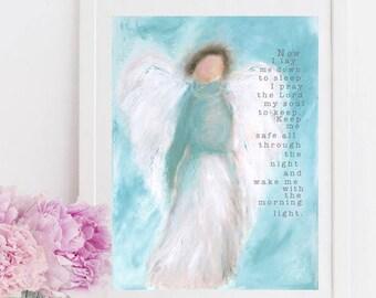Angel Print, Guardian Angel, Prayer Print, Nursery Decor, Girl Nursery Wall Art,  Baby Gift, Girls Room Decor, Prayer Print, Prayer Wall Art