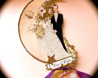 Bohemian Wedding Cake Topper, Boho, Customized, Custom Illustrated, Celestial Wedding, Personalized