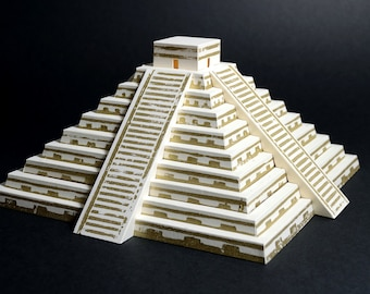 Mayan Pyramid, kit with pre-cut and lino printed parts || paper craft model of pyramid of Kulkulkan || limestone and gold color