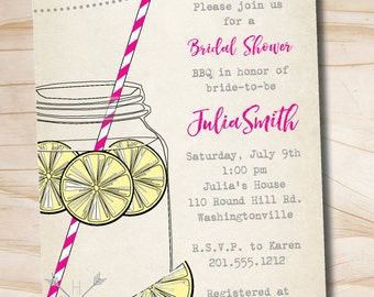 Vintage Lemonade Bridal Shower Invitation, BBQ Backyard Summer Bridal Shower Invitation - Printable digital file or printed invitations