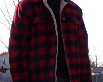 WOOLRICH WOOL COAT with faux shearling lining buffalo plaid red S