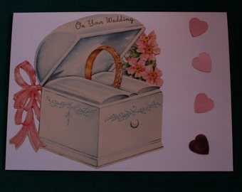 """Wedding Card, """"With This Ring"""" Collage New Vintage Image, Blank"""