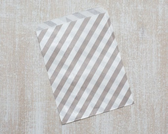10 paper bags grey stripes