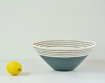 Blue grey rope decorative bowl, Hygee home basket, Coiled nursery bowl, Naturally modern, Designer bowl, Coastal decor, Baby shower gift