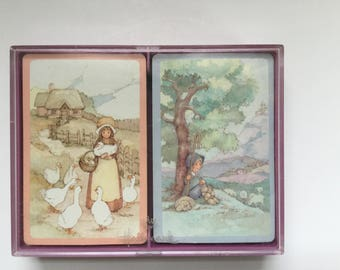 Vintage Hallmark Playing Cards/Bridge Cards/Once Upon a Time/Boxed Set of Two Decks