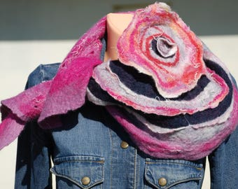 Felted Triangle Women Scarf Thin Merino Wool Neck Accessory Felted art Original Scarf