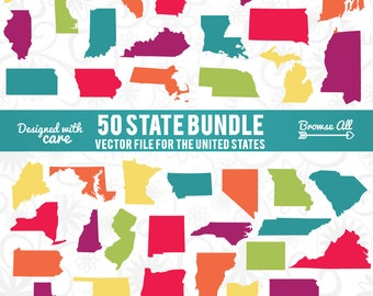 State Shapes SVG, 50 States SVG, State Silhouettes SVG, States Cutting File, State Shapes Bundle, Cut File Bundle, 50 States Cut File