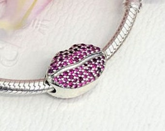 KISS MORE LIPS Charm / New / Threaded / s925 Sterling Silver / Fully Stamped