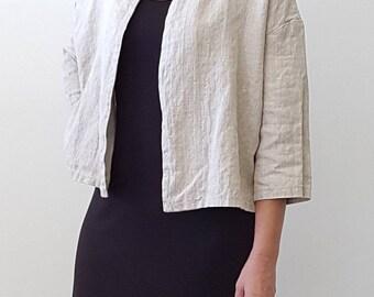 Crop Jacket in Natural Flax Linen