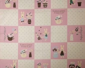 Japanese cotton tenugui hand towel cloth - le sucre bunny rabbit pink
