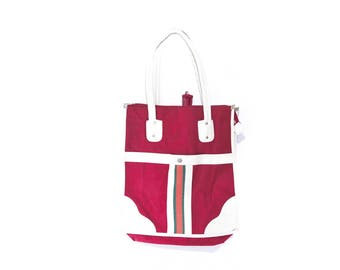 Vintage Red and Off-White Umbrella Bag Tote