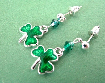 Luck o' the Irish Green Crystal and Enamel Shamrock Dangly St. Patrick's Day Earrings
