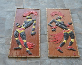 Pair of Vintage MCM Mosaic Wall Plaques Tribal Dancer Male Female Couple