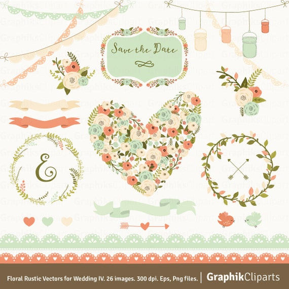 Floral Rustic Vectors For Wedding 4 Spring Flowers FLORAL HEART Vector 26 Images 300 Dpi Eps Png Files