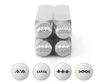 Set of 4 BORDER PACK 3 Design Stamps, ImpressArt Metal Design Stamps, 4-pack, 6mm Border Stamps, tol0738