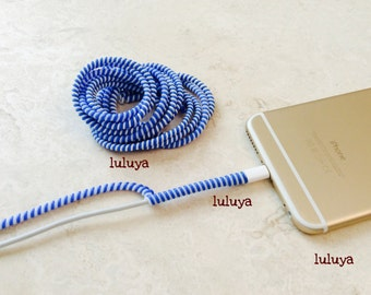 4 Royal Blue White Spring Spiral Wrap Around Cord Protectors for Iphone Samsung Cellphone Tablet Charger Cable Earphone Earbuds