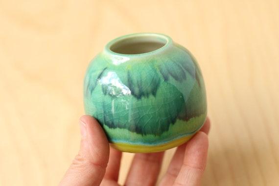 aqua bud vase // small vase // mommy vase // little bud vase // flower vase