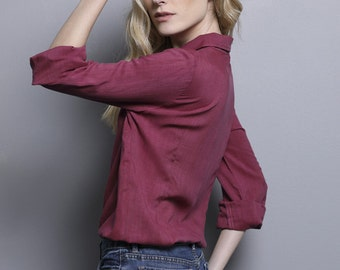 Burgundy women blouse, long sleeve blouse, women collar shirt, woman blouse, dark red blouse, blouse with tie ribbon for women