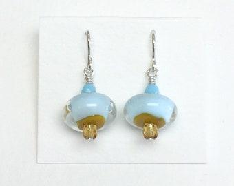 Pale Blue & Mustard Mini Dangle French Hook Earrings