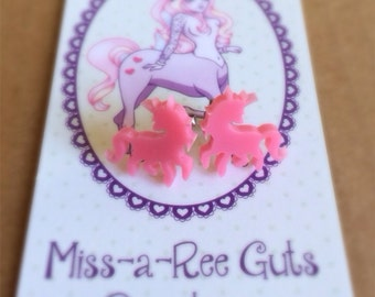 Itty Bitty Unicorn earrings laser cut pink