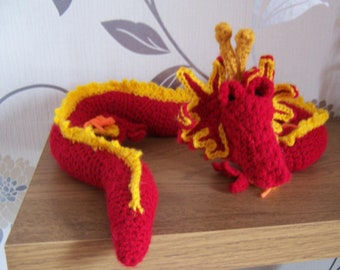 Red Chinese Style Dragon Crochet Toy , Handmade toy, crochet dragon , Stuffed soft toy, long dragon, curved dragon