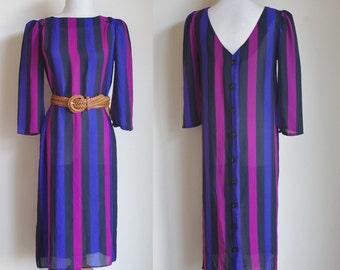 Vintage 80s Dress, Low Back Striped Dress, Purple Pink Black Stripes, 1980s Shift Dress, Button Down Back Dress, Vertical Stripes, Medium