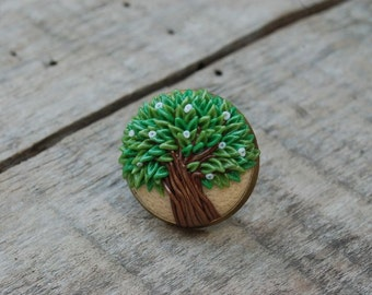 Ring tree A large ring Green Tree  Bronze base Ring wood Tree jewelry Wood jewelry Wood art Tree rings