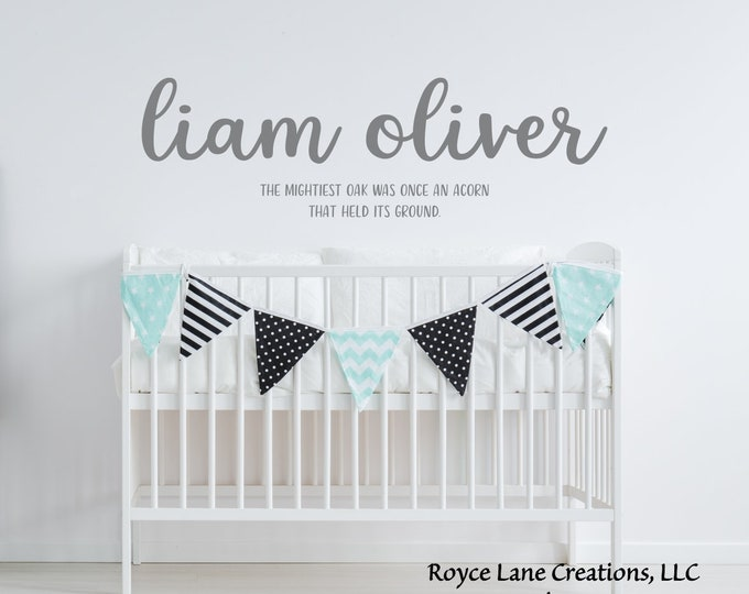 Baby Boy Quotes Name Nursery Decal / Baby Boy Name Decal / Boy Nursery Wall Decal / Baby Boy Sayings/ Baby Boy Stickers/ Nursery Quote Decal