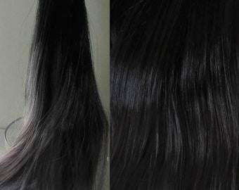 ASHES Black to Grey Ombre Nylon Doll Hair for Custom OOAK/Rerooting