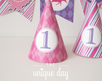 Kentucky Derby Birthday Party for girl - Party Hat - horse racing - jockey themed - - Printable - DIY Party Favor// DERG-08