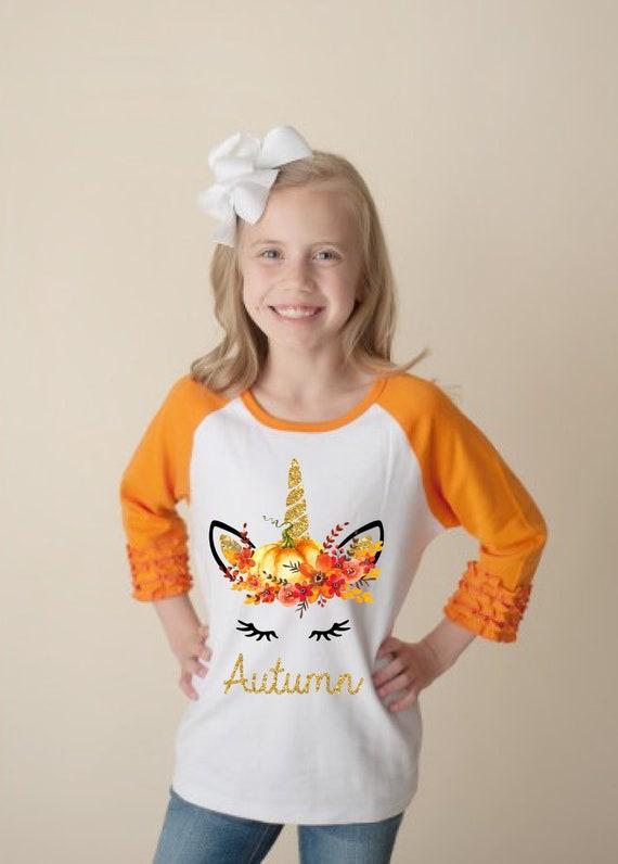 Fall Pumpkin Unicorn Face Orange Ruffle Raglan Shirt Personalized Flutter Sleeve Fall Floral Girl Shirt Watercolor Floral Orange Flowers