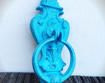 BOLD cast iron lions head door knocker // victorian french country // turquoise // shabby chic rustic home decor // antique door knocker